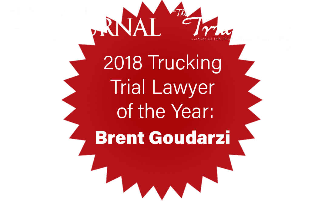 Brent Goudarzi Trucking Lawyer of the Year 2018
